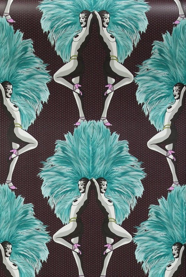 teal & mulberry showgirls wallpaper