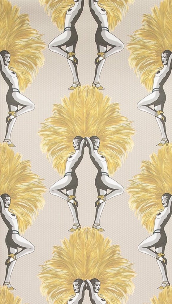 mustard and taupe showgirl wallpaper