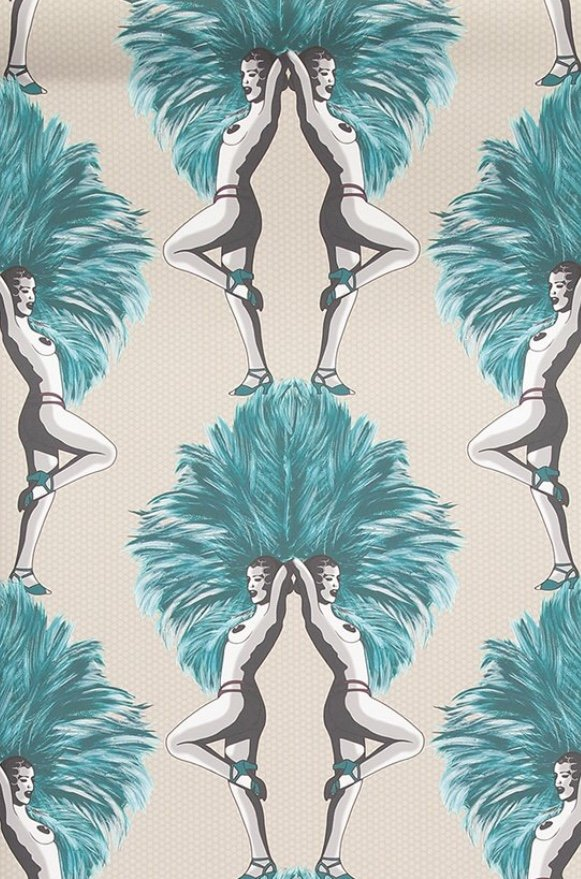 teal & taupe showgirls wallpaper