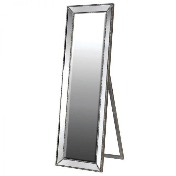 Silver Studded Floor Mirror