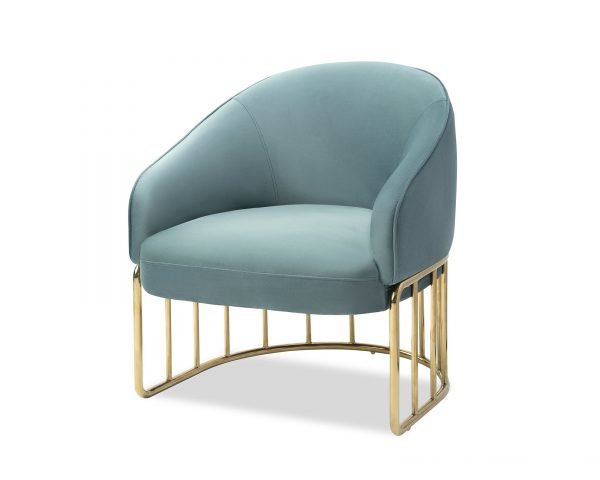 LIANG VELVET TUB CHAIR ON A STAINLESS STEEL CAGE