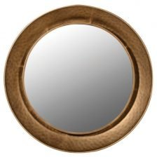 ROUND HAMMERED GOLD MIRROR
