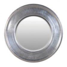 round silver effect mirror
