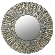 DISTRESSED METAL ROUND WAVE MIRROR