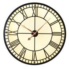 Lit Metal Round Clock