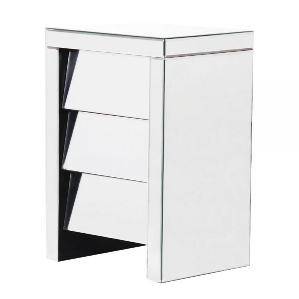 ANGLED THREE DRAWER BEDSIDE