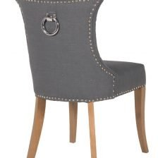 dark grey studded dining chair with ring