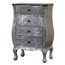 silver embossed sidetable