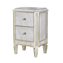 SILVER MIRRORED BEDSIDE