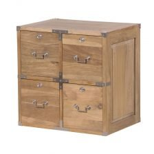 WEATHERED OAK FOUR DRAWER SIDETABLE