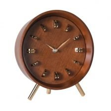Brass and Wood Table Clock