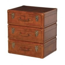 LEATHER SUITCASE DRAWER SIDETABLE