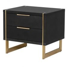 BLACK OAK AND STAINLESS BEDSIDE