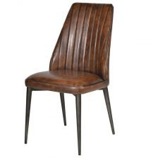 FAUX BROWN LEATHER CHAIR