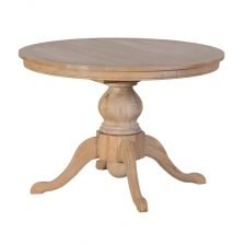EXTENDING ROUND OAK DINING TABLE