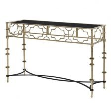 gold metal and black glass console
