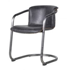 ANTIQUED GREY LEATHER CHAIR