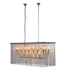 rectangular bead and glass chandelier