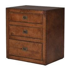 STUDDED LEATHER THREE DRAWER
