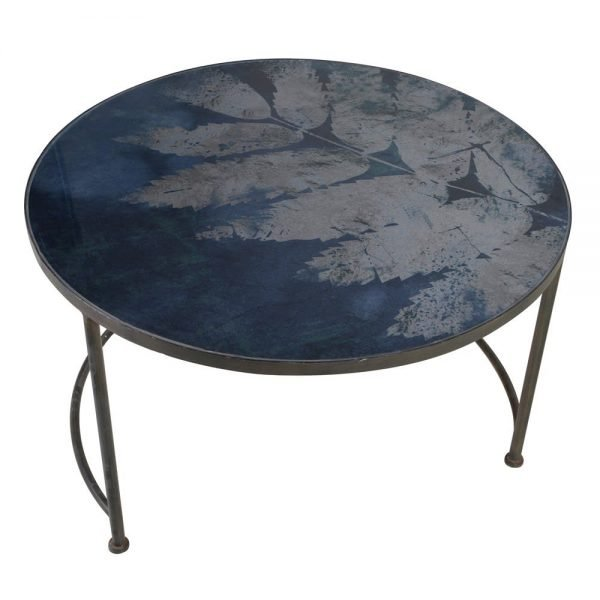 Blue Leaf Glass Top Coffee Table 1