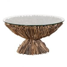 Driftwood Coffee Table with Glass Top