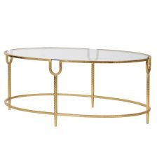 Large Gold Dimple Glass Coffee Table