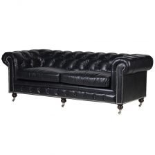 Black Leather 3 Seat Chesterfield