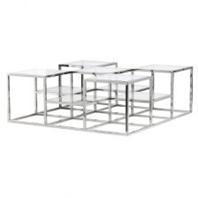 Metal and Glass Multi Coffee Table