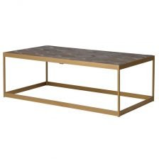 Rectangular Elm and Copper Coffee Table