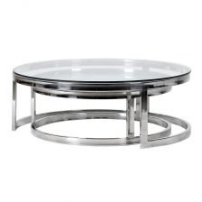 Set of 2 Round Glass Coffee Tables