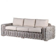 White Wash Rattan Sofa