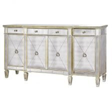 ANTIQUED MIRRORED FOUR DOOR SIDEBOARD
