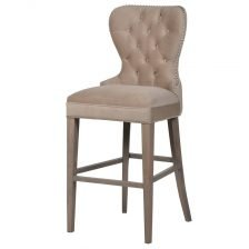 BUTTON BACK BEIGE STOOL