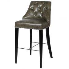 BUTTONED LEATHER BAR STOOL