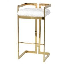 FLUFFY GOLD STOOL