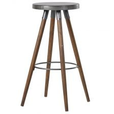 ROUND METAL AND WOOD INDUSTRIAL STOOL