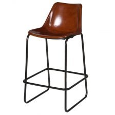TAN LEATHER BUCKET STOOL
