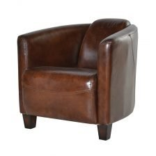 Curved Leather Armchair