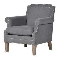Grey Fabric Studded Armchair