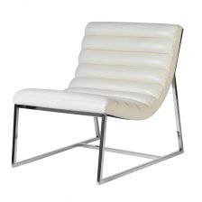 White Leather Lounge Chair