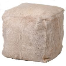 CREAM GOAT FUR STOOL
