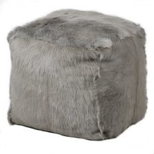 GREY GOAT FUR STOOL