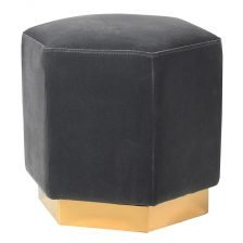 GREY VELVET HEXAGON STOOL