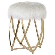 white faux fur stool
