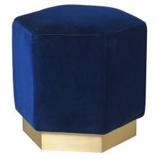 BLUE VELVET HEXAGON STOOL