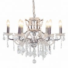 SHALLOW CHROME SIX BRANCH CHANDELIER