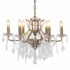 BRUSHED GOLD SIX BRANCH CHANDELIER