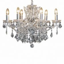 ANTIQUED SILVER SIX BRANCH CHANDELIER