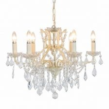 ANTIQUE CRACKLE WHITE SIX BRANCH CHANDELIER