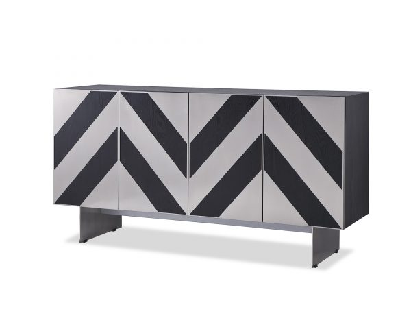 Unma Sideboard Black Ash (Brushed Stainless Steel Legs) Liang